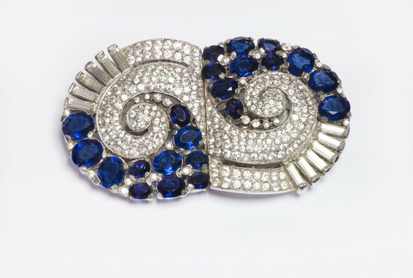 TRIFARI Alfred Philippe 1940's Geometric Blue Crystal Double Clip Duette Brooch