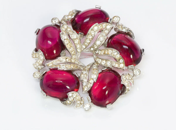 TRIFARI Alfred Philippe Red Pink Cabochon Glass Crystal Flower Brooch