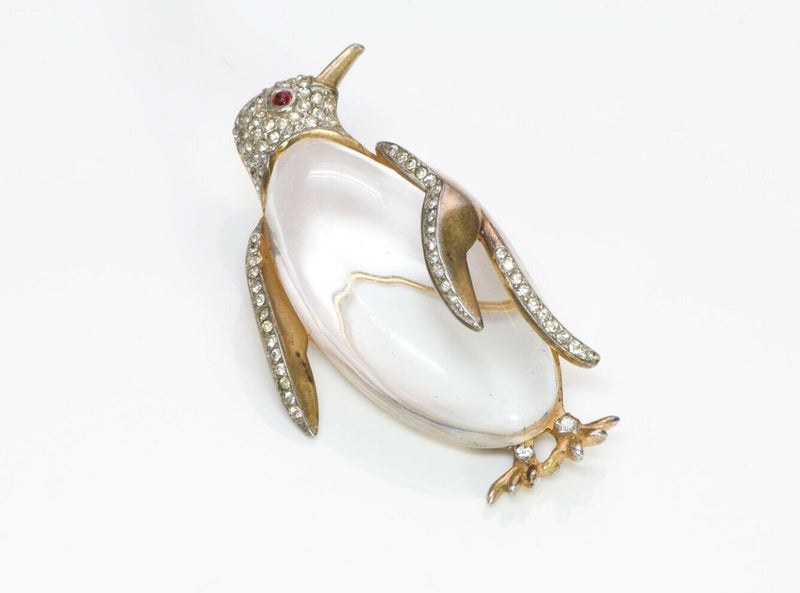 TRIFARI 1940's Alfred Philippe Gilded Sterling Silver Jelly Belly Penguin Brooch