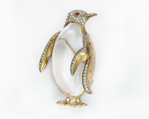 TRIFARI Alfred Philippe Gilded Sterling Silver Jelly Belly Penguin Brooch