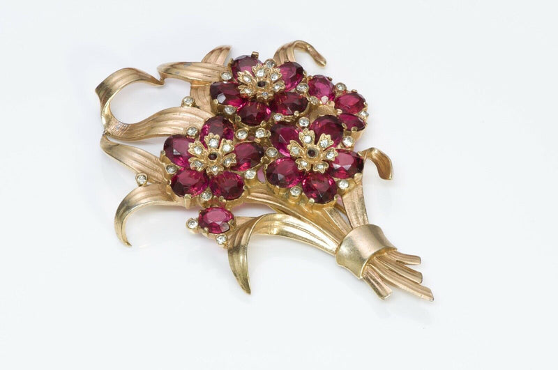 TRIFARI 1940's Alfred Philippe Crystal Flower Pin Brooch
