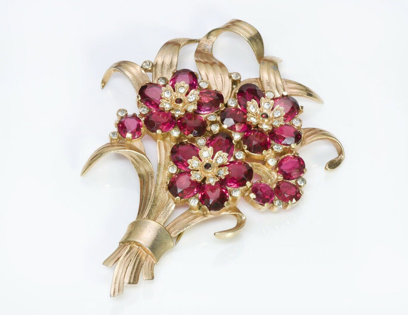 TRIFARI 1940's Alfred Philippe Red Crystal Flower Pin Brooch
