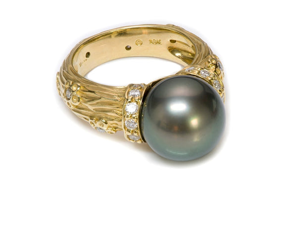 Tahitian Pearl 18K Gold Diamond Ring 2