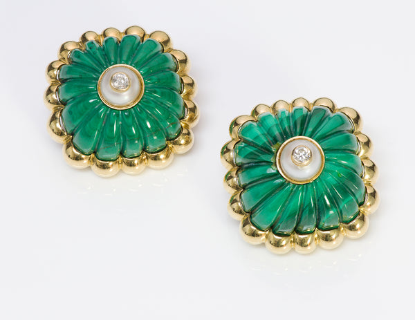 Tambetti Malachite 18K Gold Diamond Earrings