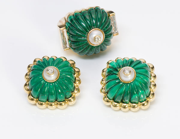 Tambetti Malachite 18K Gold Diamond Ring Earrings