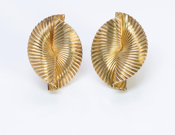 Tiffany & Co. Gold Fluted Fan Earrings