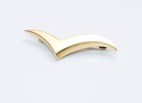 Vintage Tiffany & Co. 18K Yellow Gold V Seagull Brooch Pin