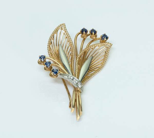 Tiffany & Co. Sapphire Diamond Gold Brooch