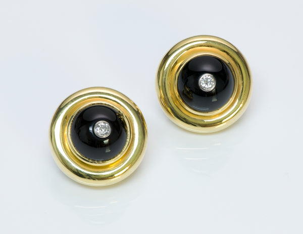Tiffany & Co. Paloma Picasso Gold Diamond Onyx Earrings