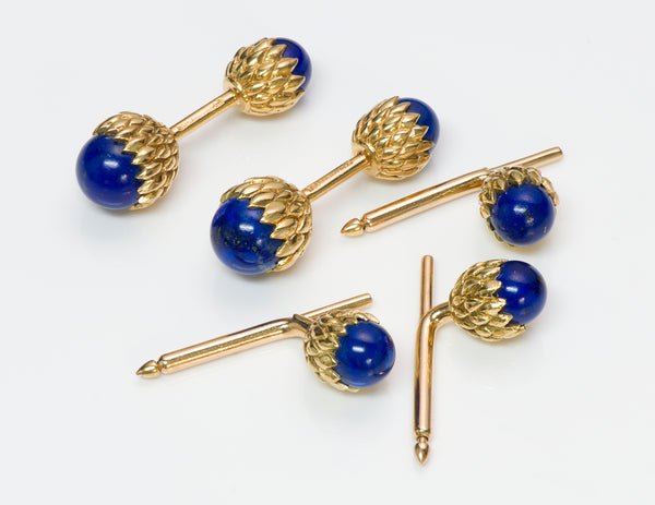 Schlumberger 18K Gold and Lapis Acorn Cufflinks