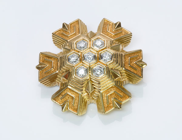 Tiffany & Co. Gold Snowflake Diamond Pendant Brooch