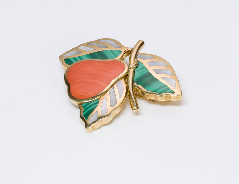 Tiffany & Co. Gold Coral Pear Brooch