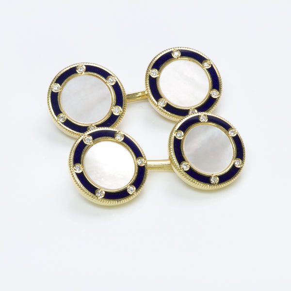 Tiffany & Co. Diamond Pearl Enamel Gold Cufflinks