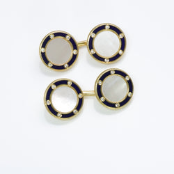 Tiffany & Co. Diamond Mother of Pearl Enamel Gold Cufflinks
