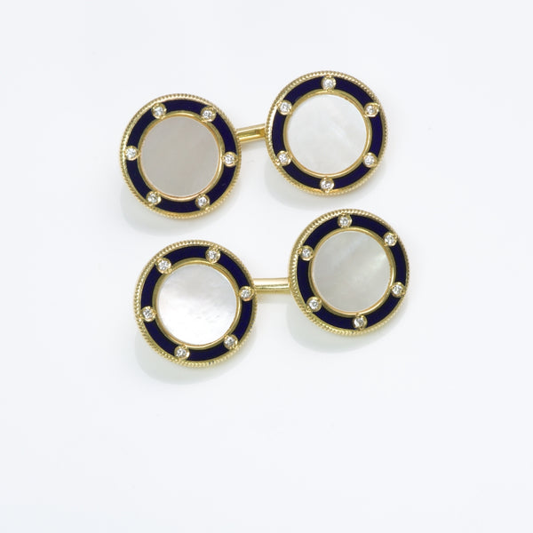 Tiffany Co. Diamond Pearl Enamel Gold Cufflinks