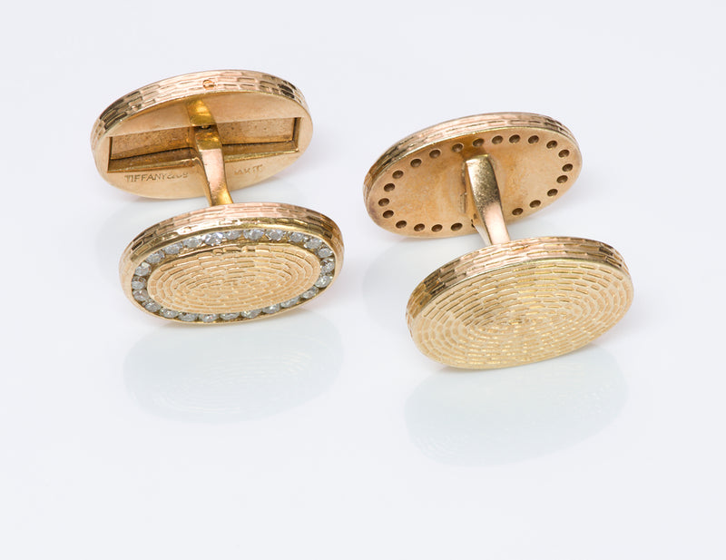 Tiffany & Co. Diamond Gold Cufflinks Oval