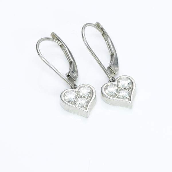 Tiffany & Co. Platinum Diamond Heart Earrings