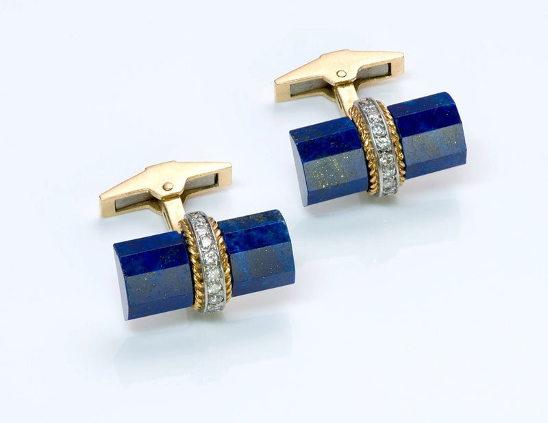 Tiffany & Co. France Gold Lapis Diamond Cufflinks