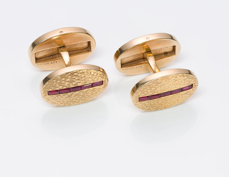Tiffany & Co. Oval Ruby Gold Cufflinks