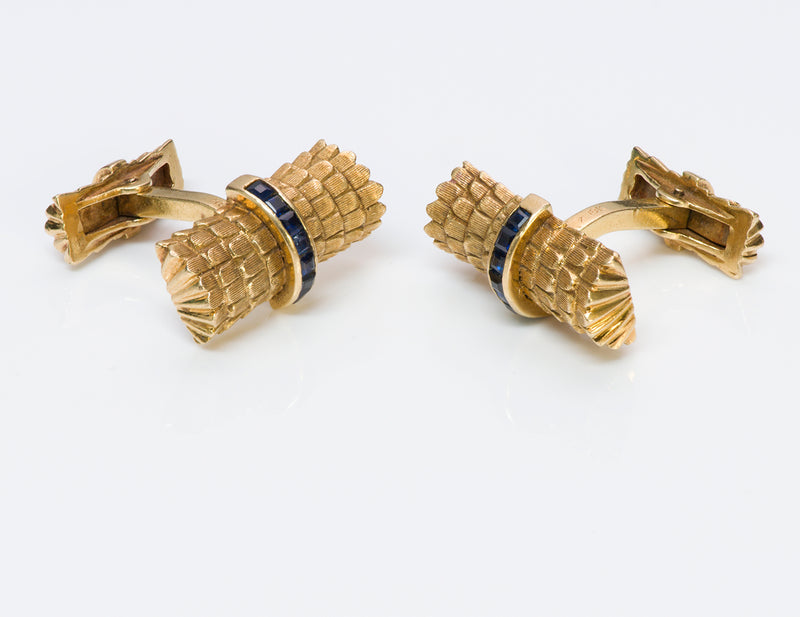 Tiffany & Co. Sapphire Gold Cufflinks & Stud Set