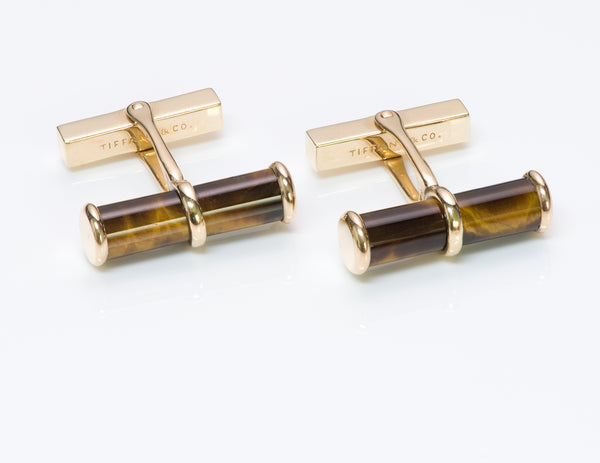 Tiffany & Co. Tiger Eye Gold Cufflinks