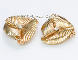 Tiffany & Co. Diamond & Gold Swirl Clips