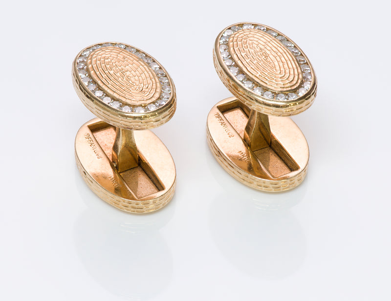 Vintage Tiffany Co. Diamond Gold Cufflinks