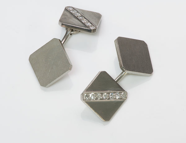 Art Deco Tiffany & Co. Platinum Diamond Cufflinks