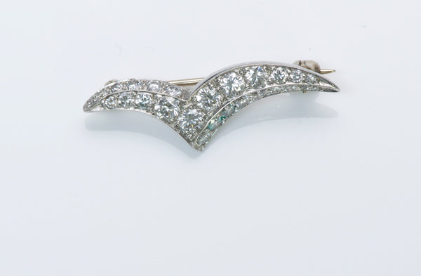 Tiffany & Co. Diamond Platinum Seagull Brooch