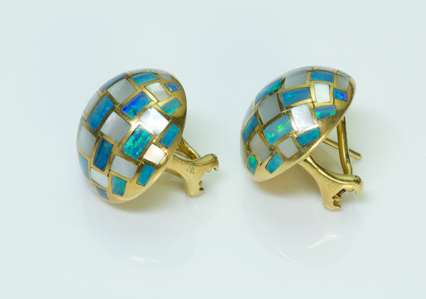 Tiffany & Co. Mother of Pearl Opal 18K Gold Earrings