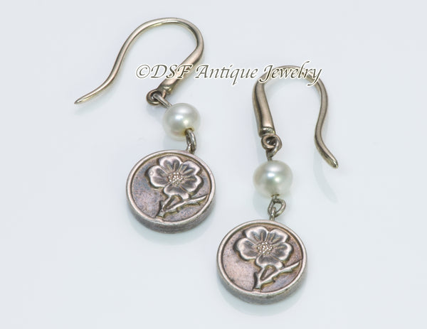 Tiffany & Co. Silver Pearl Flower Earrings