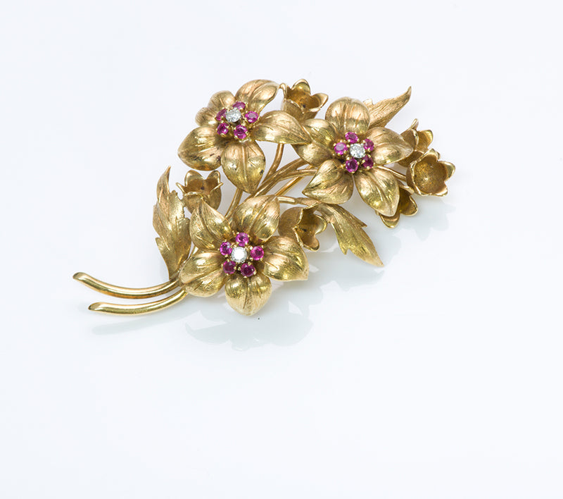 Tiffany & Co. Gold Ruby Flower Brooch