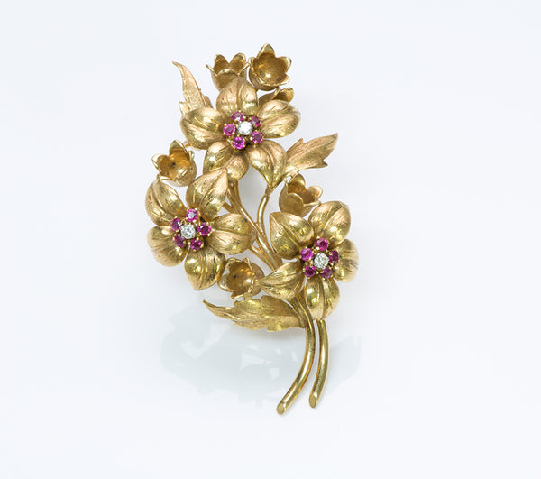 305b1467ac889 Tiffany & Co. Gold Ruby Flower Brooch