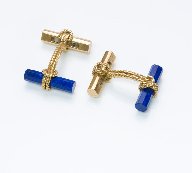 Vintage Tiffany & Co. France Yellow Gold Lapis Bar Cufflinks