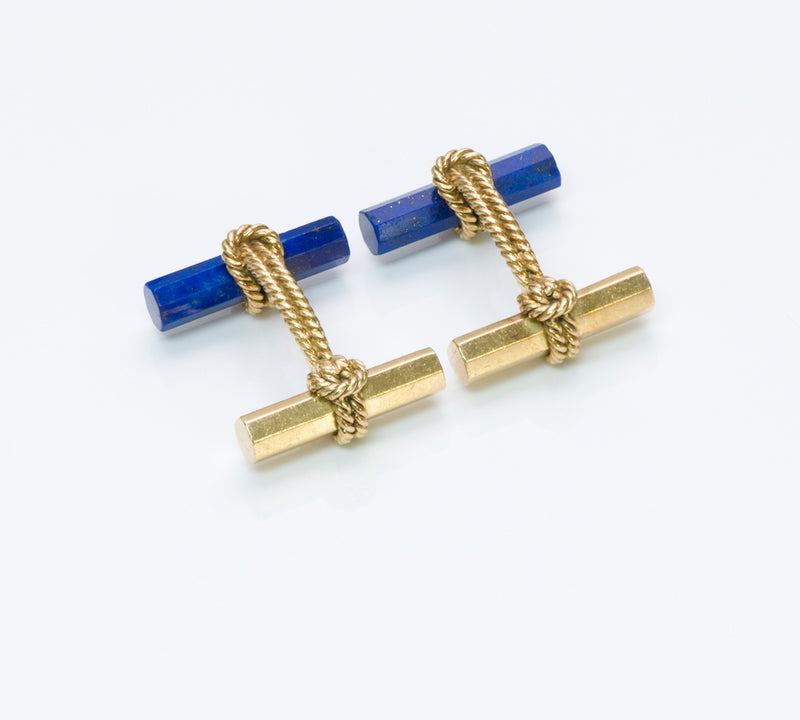 Vintage Tiffany Gold Lapis Bar Cufflinks