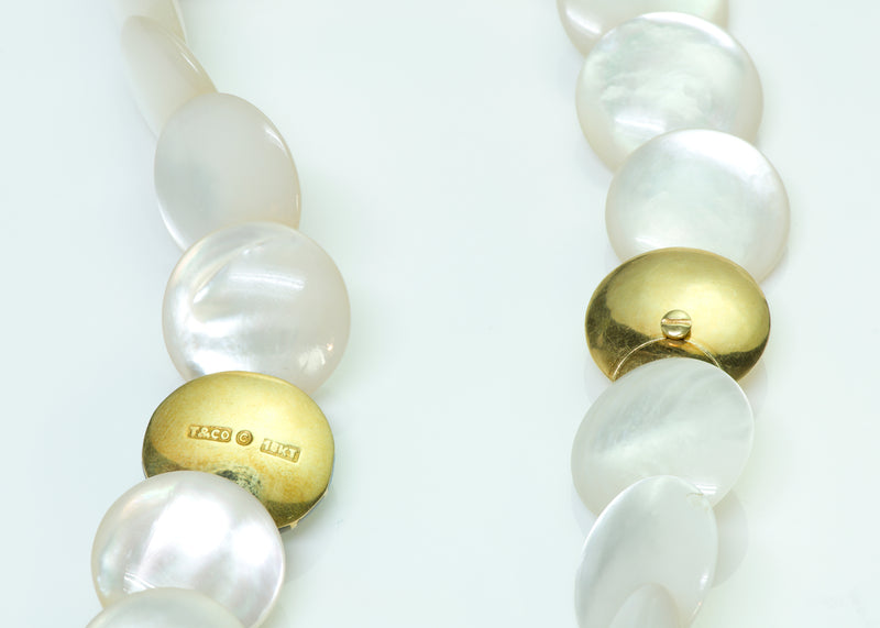 Tiffany & Co. Mother of Pearl Opal 18K Gold Necklace