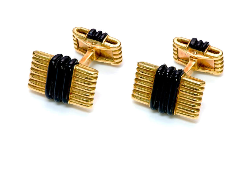 Tiffany & Co. France 18K Gold Onyx Cufflinks
