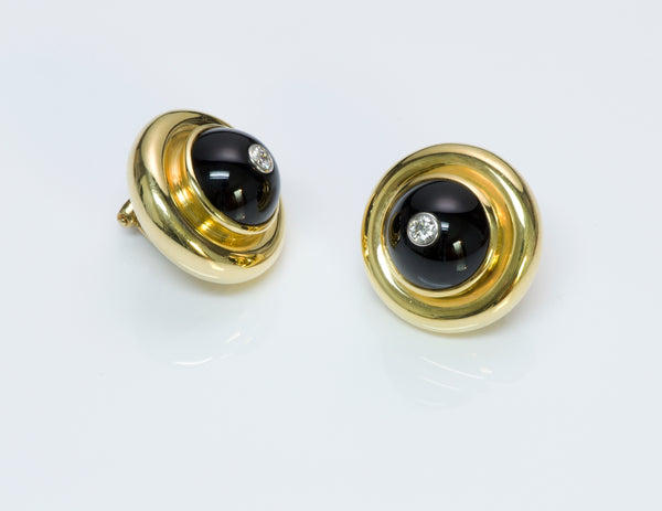 Tiffany & Co. Paloma Picasso Gold Diamond Onyx Earrings 1