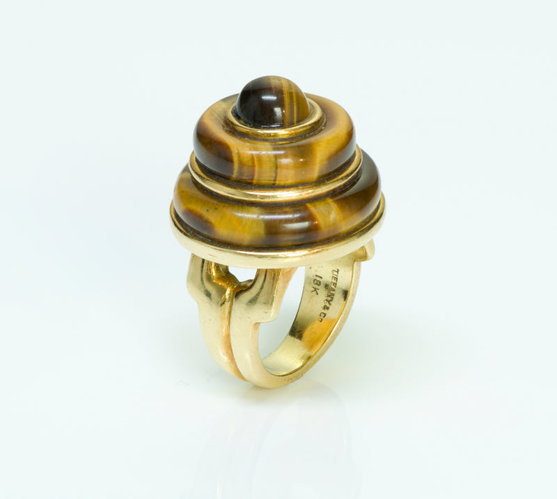 Tiffany & Co. Tiger's Eye Yellow Gold Dome Ring