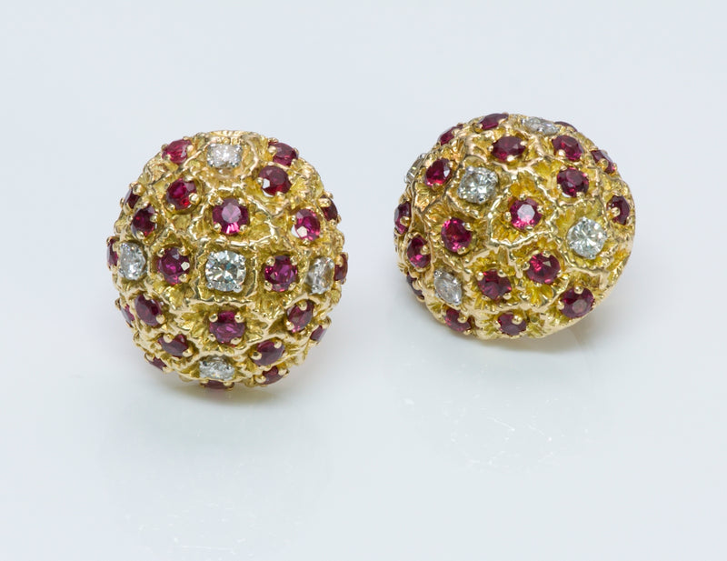 Tiffany & Co. France Gold Ruby Earrings