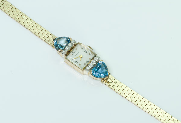 Tiffany & Co. Aquamarine Diamond 14K Gold Ladies Watch