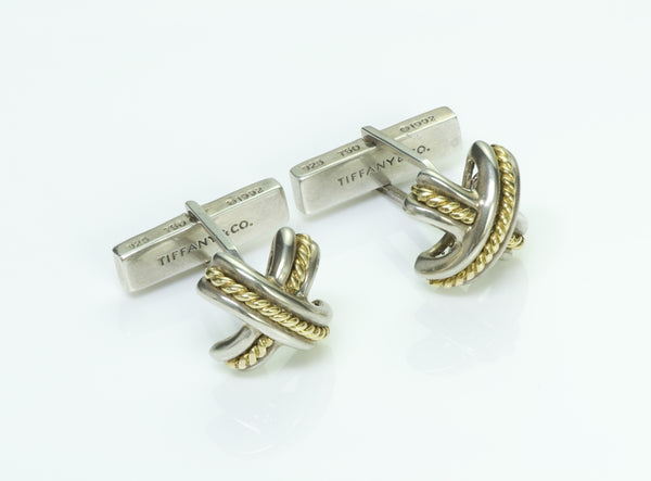Tiffany & Co. Vintage Signature X 18K Gold Cufflinks