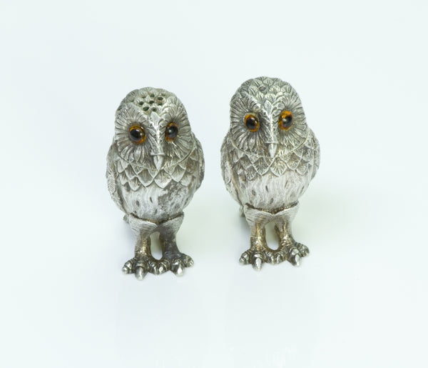 Tiffany & Co. England Vintage Silver Owl Salt & Pepper Shakers