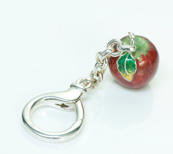 Tiffany & Co. Sterling Silver Enamel Apple Key Chain