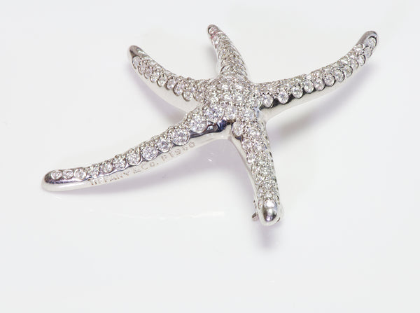 Tiffany Co. Elsa Peretti Platinum Pave Diamond Starfish Brooch