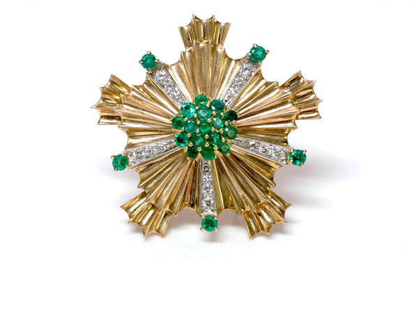 Tiffany & Co. Retro Starburst Emerald Diamond 14K Gold Pin Brooch