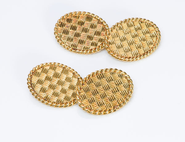 Tiffany & Co. 18K Yellow Gold Basket Weave Cufflinks