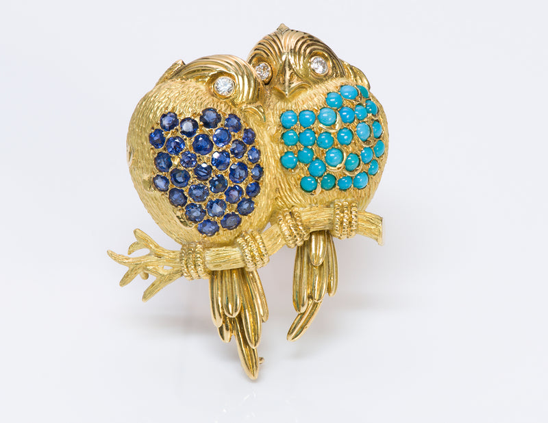 Tiffany & Co. France 20K Gold Diamond Sapphire Turquoise Bird Brooch