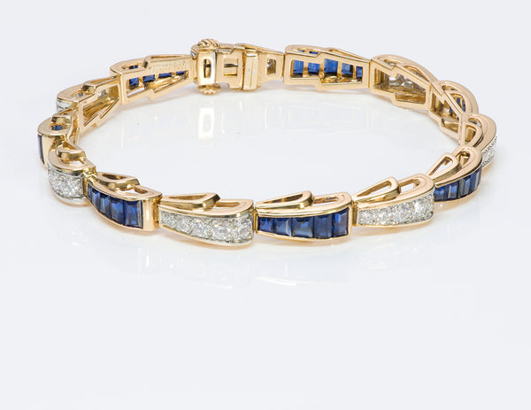 Tiffany & Co. 18K Gold Sapphire Diamond Bracelet
