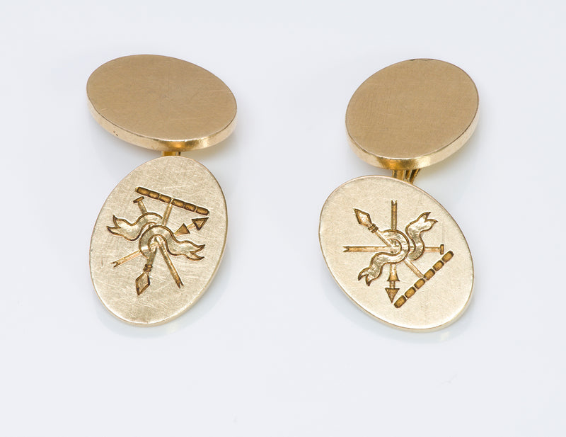 Tiffany & Co. 14K Gold Crest Cufflinks